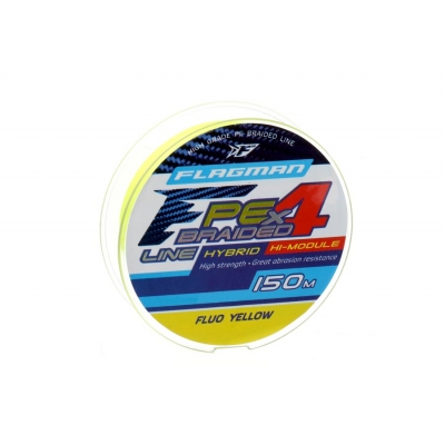 Шнур Flagman PE Hybrid F4 150м Fluo Yellow 0.16мм