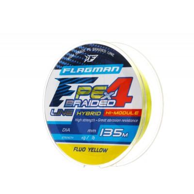 Шнур Flagman PE Hybrid F4 135m FluoYellow 0,10mm. 4,6кг/10lb